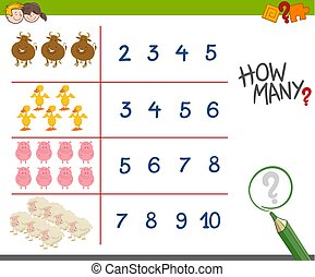 counting activity with farm animals - Cartoon Illustration...