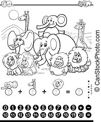 counting and adding task with animals color book - Black and...