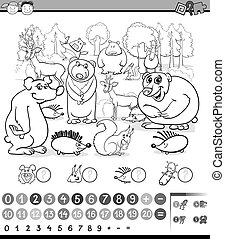 counting animals coloring book - Black and White Cartoon ...