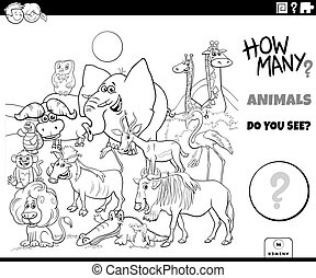 counting animals educational game coloring book page - Black...