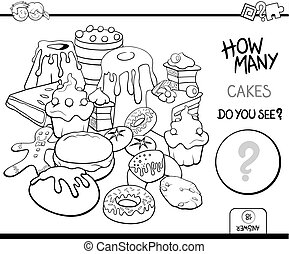 counting cakes coloring page - Black and White Cartoon...