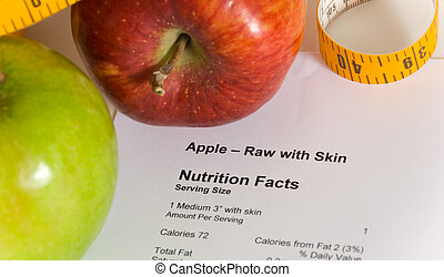 Counting Calories - Nutrition facts and apples with a tape...