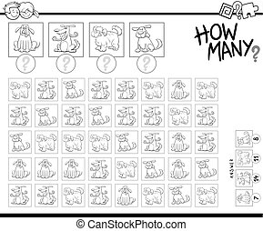 counting cartoon dogs educational game - Black and White...