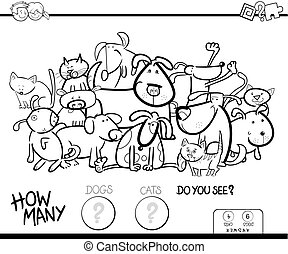 counting cats and dogs coloring book game - Black and White...
