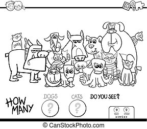 counting cats and dogs game color book - Black and White...