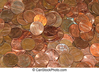 counting change - pile of pennies - great for backgrounds