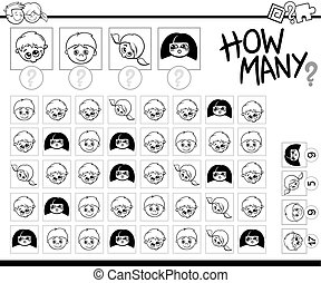 counting children for coloring - Black and White Cartoon ...