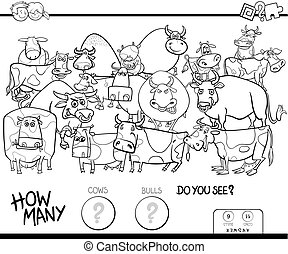 counting cows and bulls game color book - Black and White...