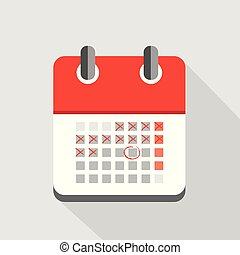 counting days in red calendar icon