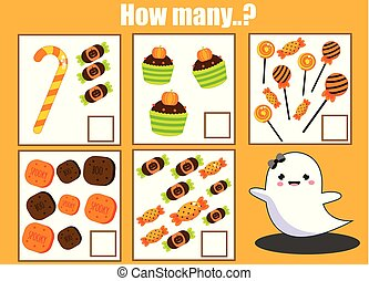 Counting educational children activity. Halloween theme mathematics worksheet