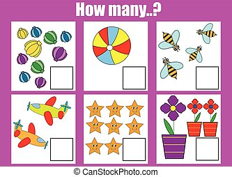 Counting educational children game. How many objects task