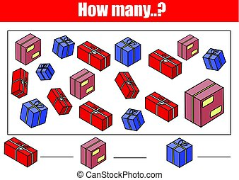 Counting educational children game, kids activity. How many objects task