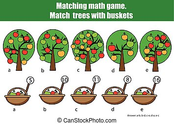 Counting educational children game, kids activity. Mathematics counting matching game