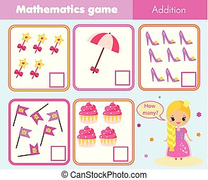 Counting educational children game, math kids activity. How many objects. Addition for girls with cute princess