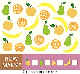 Counting educational game for children. How many fruits (apple, pear, orange, banana). Learning numbers, mathematics.