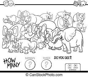 counting elephants and rhinos game color book - Black and...