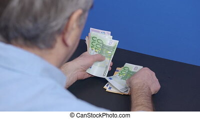 Counting euro. Great business earnings, success in financial career. Paper for bank exchange transactions, cash money calculations, money