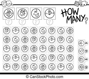 counting faces coloring page - Black and White Cartoon ...