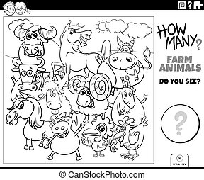 counting farm animals educational game for kids coloring book page