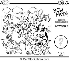 Black and White Illustration of Educational Counting Task for Children with Cartoon Farm Animal Characters Coloring Book