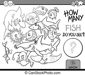 counting fish coloring book - Black and White Cartoon...