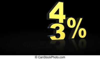 Counting from zero 0 to fourteen 14 % percent 3D animation -...
