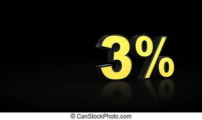Counting from zero 0 to thirteen 13 % percent 3D animation -...