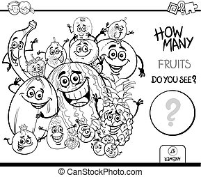 counting fruits coloring book - Black and White Cartoon...
