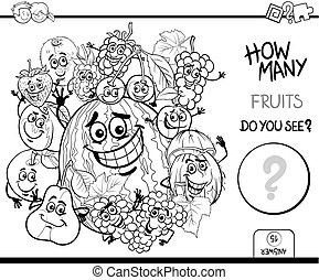 counting fruits coloring page - Black and White Cartoon...