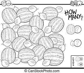 counting fruits educational task coloring book