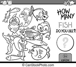 Cartoon Illustration of Education Counting Game for Coloring Book