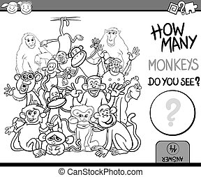 counting game cartoon coloring page - Cartoon Illustration...