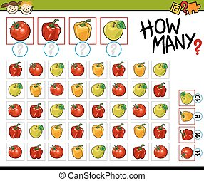 Cartoon Illustration of Education Counting Game for Preschool Children
