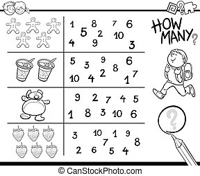 Black and White Cartoon Illustration of Educational Counting Activity for Children Coloring Page