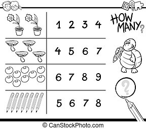 counting game coloring page - Black and White Cartoon ...