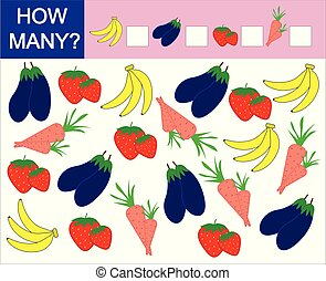 Counting game for preschool children. How many fruits, berries and vegetables. Learning numbers, mathematics.