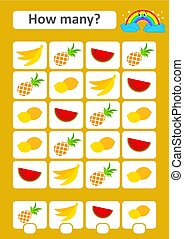 Counting game for preschool children. The study of mathematics. How many fruits in the picture.Banana, pineapple, watermelon, lemon. With a place for answers. Simple flat isolated vector illustration.