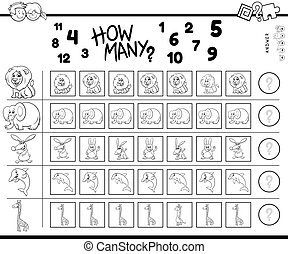 counting game with cartoon animals color book - Black and ...