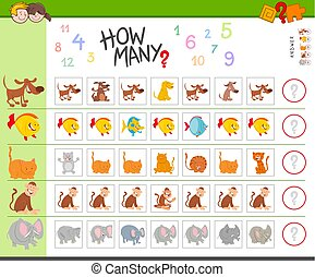 counting game with cartoon animals