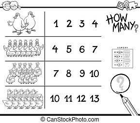 counting game with chicken coloring page
