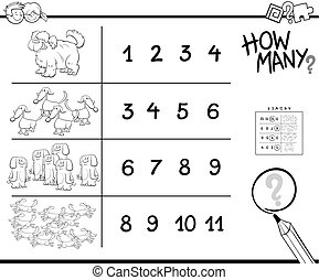 counting game with dogs coloring page
