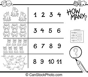 counting game with dogs for coloring - Black and White...