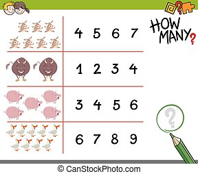 counting game with farm animals