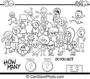counting girls and boys activity coloring book - Black and...