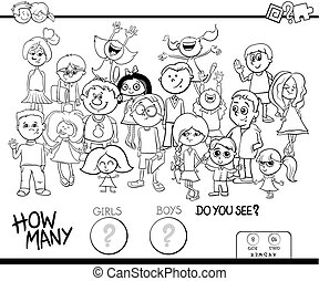 counting girls and boys game coloring book - Black and White...