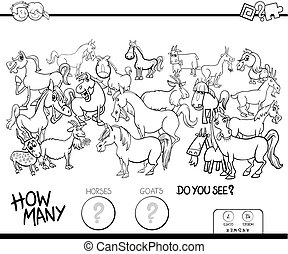 counting horses and goats game color book - Black and White...