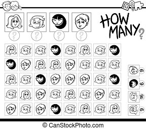 counting kids coloring page - Black and White Cartoon ...