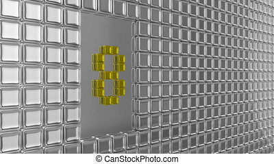 Nine to zero counting leader metal background design. Seamless Animation. High quality render.