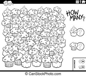 Black and White Illustration of Educational Counting Game for Children with Muffin and Cupcake Sweet Food Objects Coloring Book Page
