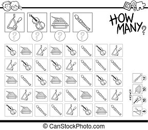 counting musical instruments coloring page - Black and White...